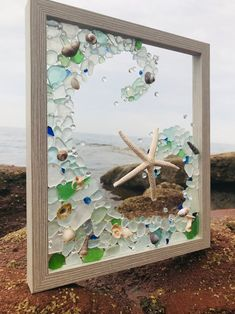 Seashell Art, Seashell Crafts, Beach Crafts, Sea Glass Mosaic, Sea Glass Art, Sand Glass, Mirror Glass, Mirrors, Stained Glass Designs