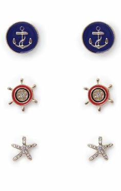 Deb Shops Set of Three #Nautical Earrings with Star and #Anchor $4.74