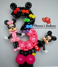 Mickey Mouse Decorations, Birthday Balloon Decorations, Number Balloons, Letter Balloons, Letters And Numbers, Sculptures, Parties, Party Ideas, Lyrics
