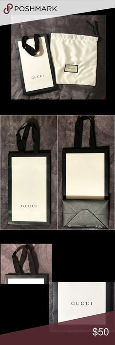 """SET: GUCCI Duster Storage/Travel & shopping bag SET: GUCCI White Duster Storage/Travel Bag & GUCCI Paper shopping bag  Storage bag has sewn GUCCI logo label. Made of 100% polyester and has grosgrain handles. It measures & 10"""" h x 10"""" w.  Made in Italy. Perfect for travel or storage. Good condition.  Paper shopping bag has embossed GUCCI on both sides and has grosgrain handles. It measures 11 ¼"""" h; 6.6"""" w & 4 ¼"""" d. Good condition. Tiny mark on paper on one corner (see photo).   New from…"""