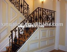 View of Iron stair railing with wall