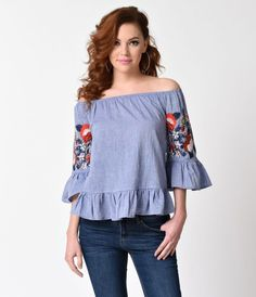 Let this be your perennial bloom, dears! A striking lightweight  blue cotton top, featuring an elastic off shoulder neckline and gorgeous three-quarter sleeves. Circular flounce at the cuffs and hem lend a breezy style while stunning embroidered florals e