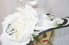 White Rose Kentucky Derby Hat White Wedding Hat White Rose