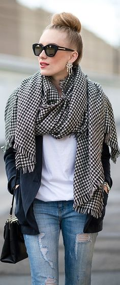 A scarf is a great way to make an outfit look casual chic!