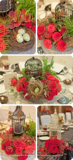 Reception with birdcages, bird's nests, black lanterns, candles, flowers and ferns.