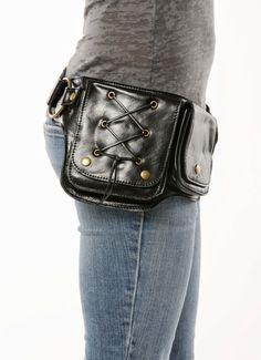 Hip Pack Lace Design Leather Utility Belt Black by WCCouture