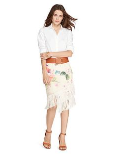 Fringed Floral Crepe Skirt - Lauren Short - RalphLauren.com