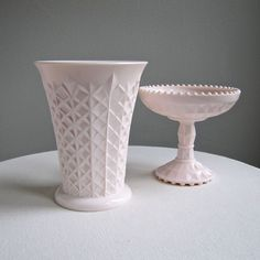 Pink Milk Glass Footed Compote Shell Pink by BarkingSandsVintage