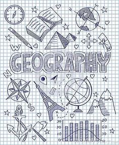Photo about Vector illustration of Hand drawn Geography set. Illustration of direction, collection, diagram - 49512592 Diy Notebook, Notebook Covers, Decorate Notebook, Doodle Icon, Doodle Art, Project Cover Page, School Binder Covers, School Notebooks, Ideias Diy