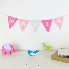 Personalized paper banner for girls