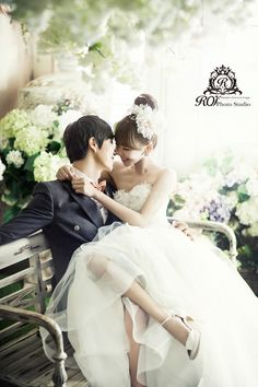 View photos in Korean Wedding Studio Photography: Floral Set. Pre-Wedding photoshoot by Roi Studio, wedding photographer in Seoul & Jeju Island, Korea. Pre Wedding Photoshoot, Wedding Poses, Wedding Shoot, Wedding Couples, Boho Wedding, Korean Wedding Photography, Bridal Photography, Wedding Photography Inspiration, Photography Ideas