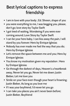 Best lyrical captions to express friendship Badass Captions, Captions Sassy, Ig Captions, Instagram Caption Lyrics, Attitude Caption For Instagram, Instagram Quotes, Caption For Nature, Caption For Girls, Short Instagram Captions