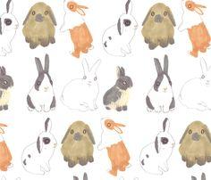 Easter Bunny Rabbits  fabric by jo_clark on Spoonflower - custom fabric