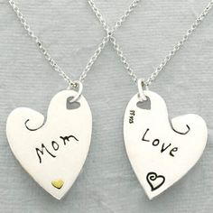 Sterling silver heart necklace with Love and a single etched heart on one side and Mom with a golden brass heart on the other. Sterling Silver Heart Necklace, Heart Pendant Necklace, Dog Tag Necklace, Mother Jewelry, Jewelry Quotes, Engraved Jewelry, Love Mom, Birthstone Jewelry, Love Heart