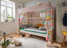 #himmelbett #kinder #mädchen #jungen #kinderzimmer #einrichtungsideen #schlafen #zelt Bunk Beds, Toddler Bed, Loft, Kiefer, Furniture, Home Decor, Products, Fashion For Girls, Old Furniture