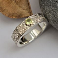 Crysoberyl silver and gold textured ring