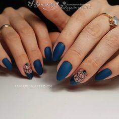70 Most Sexy Mysterious Midnight Blue Nails Inspirational Design For Fall - Page 27 of 70 - Diaror Diary Dark Blue Nails, Navy Nails, Shellac Nails, Glitter Nails, Acrylic Nails, Nail Polish, Blue Nail Designs, Acrylic Nail Designs, Blue Design
