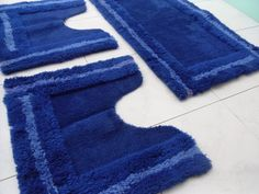 Tappeti per bagno -  Tappeti da bagno blu - Arredo bagno vintage - tappeto antiscivolo - vintage tappeti blu - bagno blu - tappetini blu - di VintaFai su Etsy