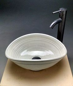 """Custom Handmade Pottery Oval Vessel Sink  Unique Creative Design For Your Small Bathroom Remodeling """"Made To Order"""""""