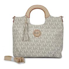 842f3ccea268 Michael Kors Signature Monogram Large white Clutches Michael Kors Tote Bags