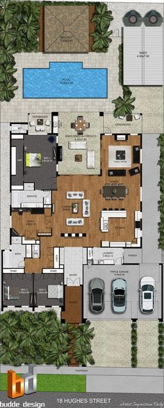 colour floor plan and colour site plan - image used for real estate marketing - Victoria Australia House plan includes 3 Bedroom 2 bathroom Study Open plan living Pool Outdoor entertaining triple garage Bali Hut Shed Dream House Plans, Modern House Plans, House Plans With Pool, House Design Plans, Modern Pool House, 3d House Plans, Plan Design, Layout Design, Bali Huts