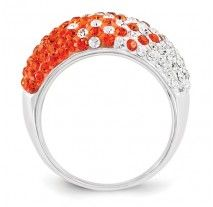 Spirit Collection- Team Colors Orange and White Sterling Silver Swarovski Elements Spirit Ring