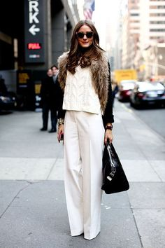Winter white and fur - Olivia Palermo