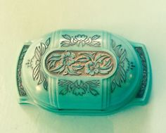 Rare aqua celluloid ring box Aqua Blue, Antique Jewelry, Vintage Jewelry, Antique Rare, Jewelry Box, Jewelry Making, Ocean Colors, Deco Floral, Color Ring