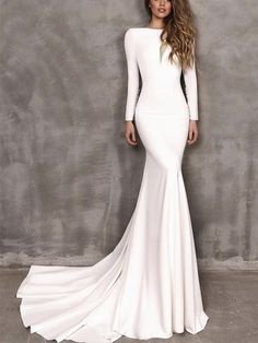 Wedding Dress Tight, Greek Wedding Dresses, Satin Mermaid Wedding Dress, Simple Elegant Wedding Dress, Wedding Dress Prices, Elegant Prom Dresses, Long Sleeve Wedding, Wedding Dress Sleeves, Wedding Dress Styles