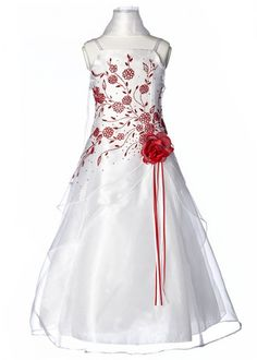 White with Red Floral Embroidered Organza Girl Dress