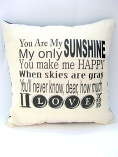 You Are my Sunshine Nursery Ryhme Pillow Home Decor by ellebeetree, $14.00