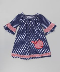 This Blue & Red Whale Peasant Dress - Infant, Toddler & Girls by Lil Cactus is perfect! #zulilyfinds