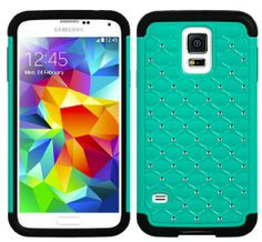 myLife (TM) Black and Teal - Diamond Shell Series (2 Layer Neo Hybrid) Slim Armor Case for the NEW Galaxy S5 (5G) Smartphone by Samsung (Ext...
