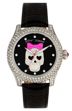 Betsey Johnson 'Bling Bling Time' Skull Dial Leather Strap Watch available at #Nordstrom