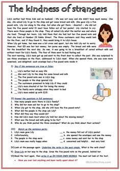 RC: The kindness of strangers - English ESL Worksheets for distance learning and physical classrooms English Grammar Worksheets, Reading Worksheets, English Vocabulary Words, Reading Comprehension For Kids, Comprehension Activities, Reading Test, Reading Skills, Learning English For Kids, Teaching English