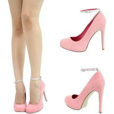 Pink Ankle Strap Heels