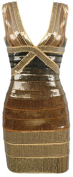 'This dress would WOW the crowd on New Year's Eve! Tammy' Gold Ombre Sequin Bandage Dress