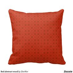 Red abstract wood throw pillow