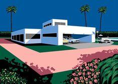 Inspired by Magritte and Dali, and the American pop art culture Retro Kunst, Retro Art, Magritte, Japanese Illustration, Illustration Art, Pixel Art, Wave City, Vaporwave Art, Japanese Artists