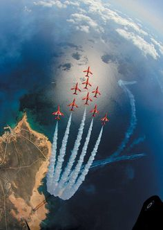 Red Arrows. An unusual and privileged view of the Eagle formation, as seen from above, during practice over Akrotiri, Cyprus, on 14 April 2011. The image was taken by Sqn Ldr Graeme Bagnall