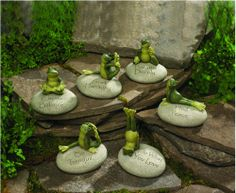 Yoga Frog garden rocks. Balance, Tranquility, Harmony, Peace, Do What You Love, and Breathe Deeply.