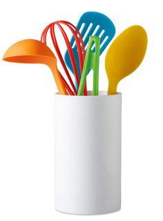 Set Cucina 5 pezzi: Set in nylon composto da spatola, frusta, pinza, cucchiaio e mestolo, in contenitore di plastica. Personalizza la tua idea regalo con Ibiscus gadget!