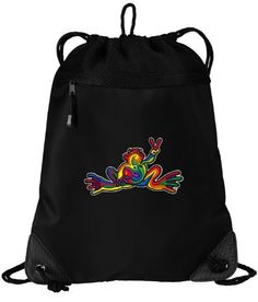 Peace Frogs Drawstring Bag String Backpack Super Cool Drawstring Bags SOPHISTICATED MICROFIBER  MESH- For School Beach Gym by Broad Bay. $16.99. This uniquely designed flexible mesh-backed Peace Frogs drawstring bag backpack is the perfect bag for books, a change of clothes, a pair of shoes, or a towel for the pool or beach. The front features sophisticated-look microfiber fabric while the back is a super strong stretchable mesh. The zippered compartment is fully enclosed, bu...