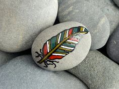 Peace Feather / Painted Stone/ Sandi Pike door LoveFromCapeCod