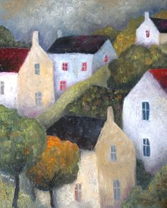Original Large Oil by Jeremy Mayes - 30 x 24 in canvas 'Hillside Trees & Houses' #OutsiderArt