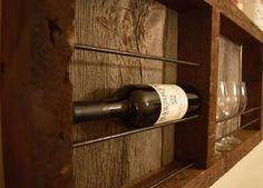 Reclaimed barnwood wine rack  with barn wood by BarrelsAndBarnWood