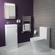 Lyon II Toilet & Slimline Basin Cabinet - Gloss White   Soak.com
