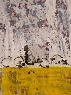 """Original abstract painting yellow black and white circles acrylic on paper modern home office decor 19.5""""x 25.5"""" by MyMexicanArt on Etsy"""
