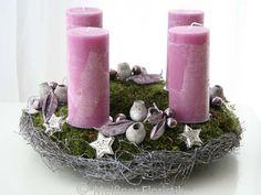 """Adventskranz - Adventskranz """"pink flieder Komposition"""" - ein Designerstück von Meissner-Floristik bei DaWanda"""