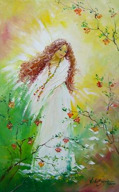 Pretty angel painting and flowering vines painting. Viola Sado